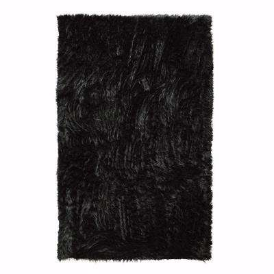 Faux Sheepskin Black 2 ft. x 3 ft. Area Rug