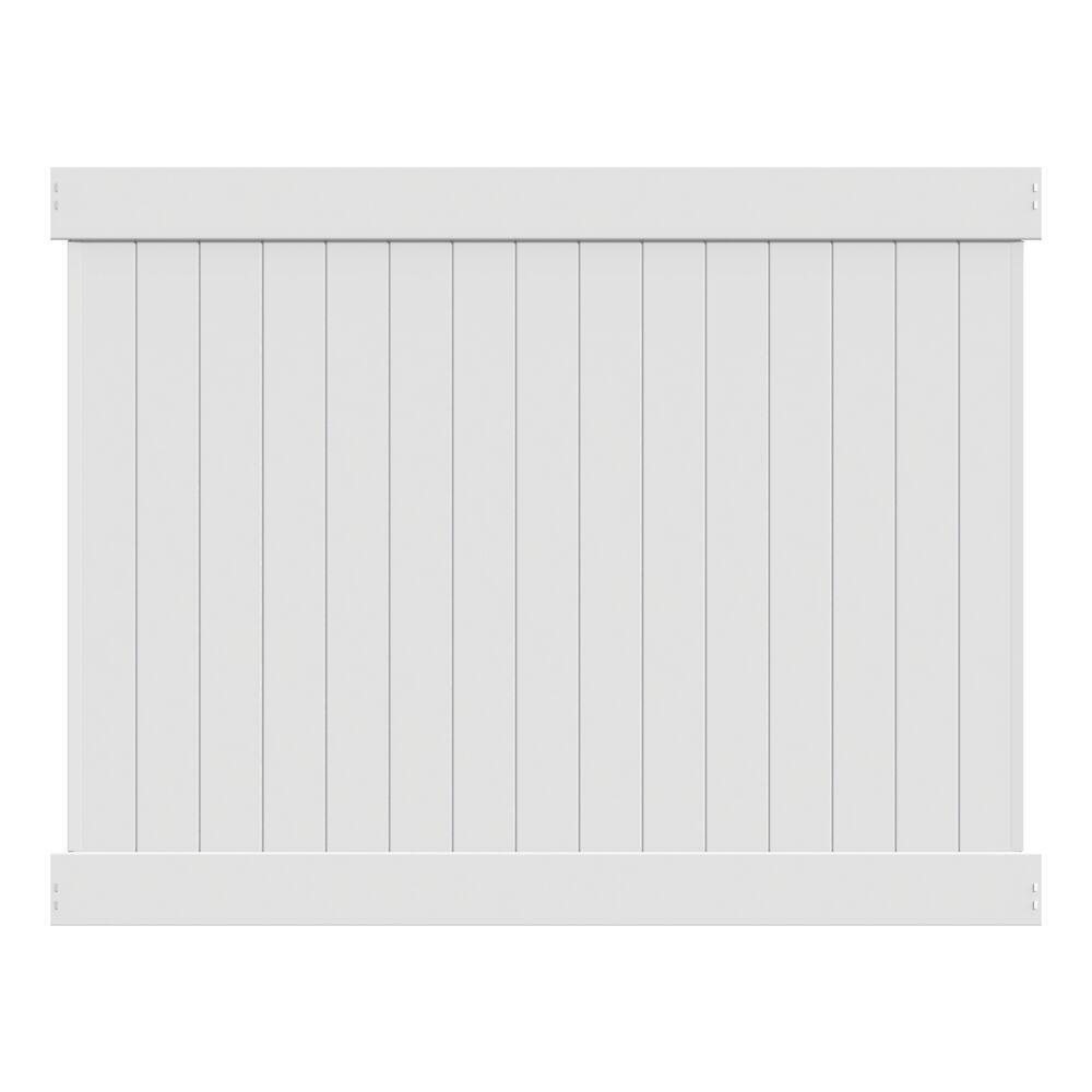 Linden 6 ft. H x 8 ft. W White Vinyl Privacy Fence Panel Kit