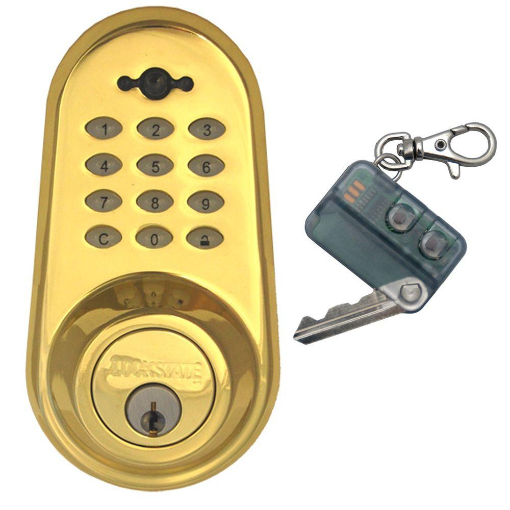 null Digital Single Cylinder Polished Brass Deadbolt Door Lock and Keyless Infared Red Remote-DISCONTINUED