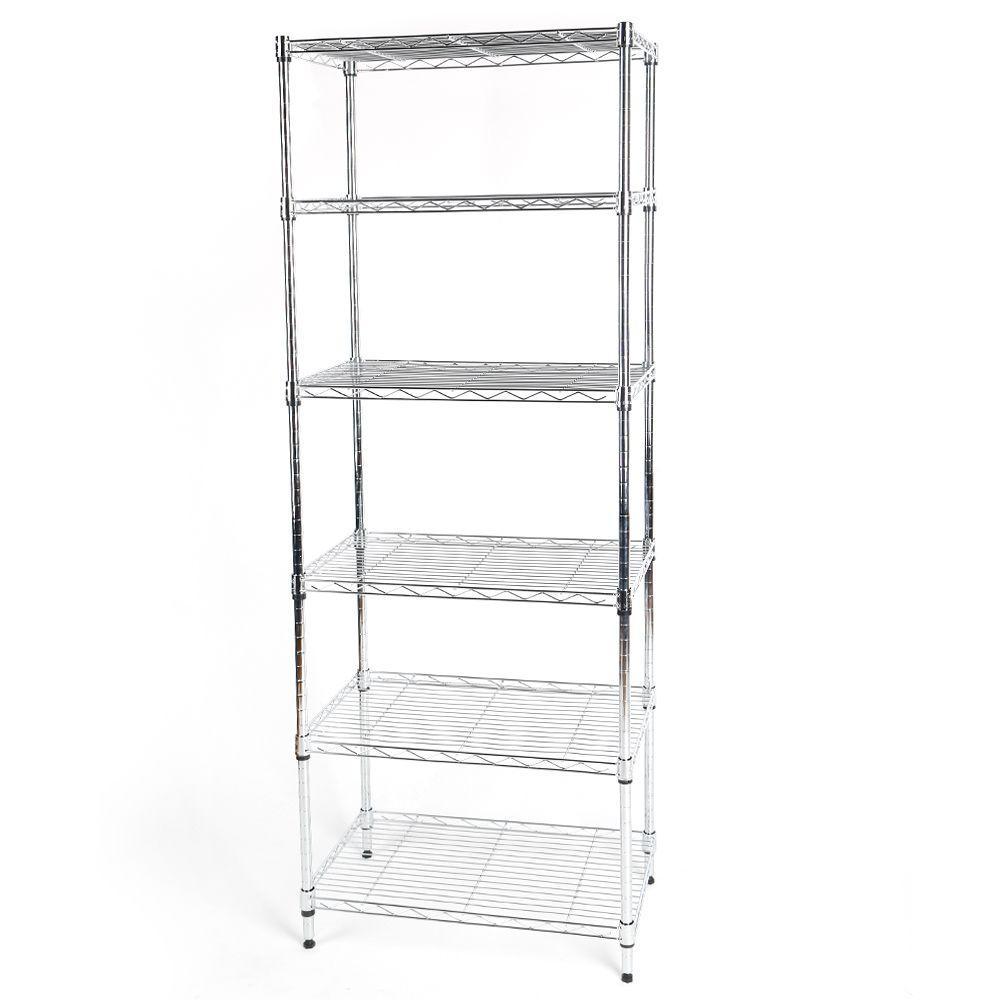 60 in. H x 24 in. W x 14 in. D 6 Shelf Wire Storage Unit