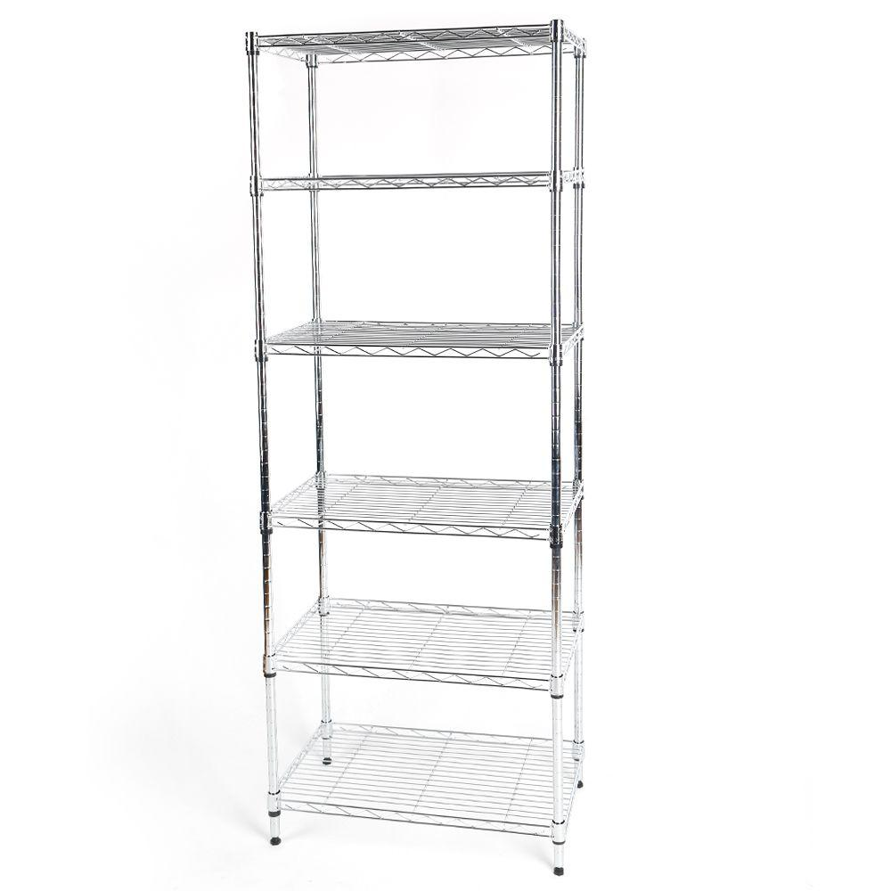 HDX 60 in. H x 24 in. W x 14 in. D 6 Shelf Wire Storage Unit-SL ...