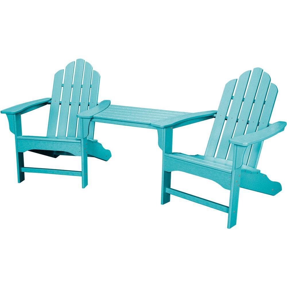 Rio Aruba Blue 3-Piece All-Weather Plastic Patio Lounge Adirondack Chair Set