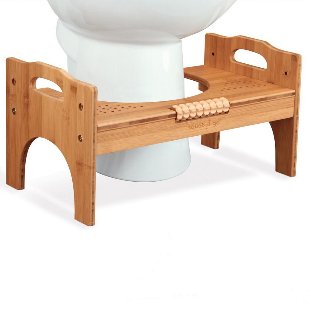 Wondrous Squat N Go 7 In Or 9 In Adjustable Bamboo Luxury Squatting Toilet Stool With Built In Foot Massager Customarchery Wood Chair Design Ideas Customarcherynet