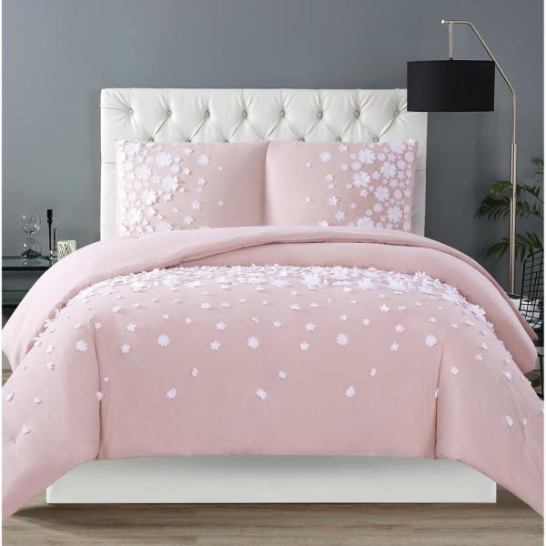 Siriano Confetti Flowers 3, Pink And Mint Twin Bedding