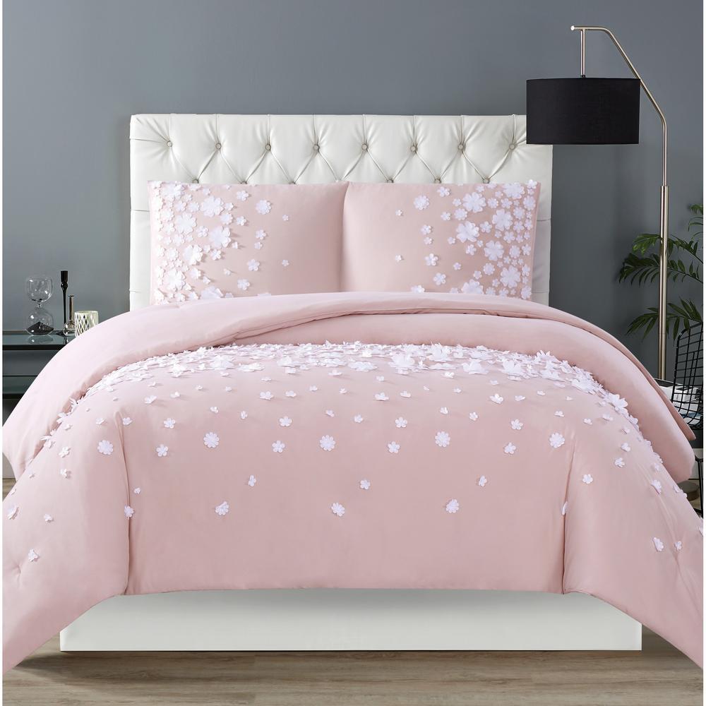 Confetti Flowers 2-Piece Blush Twin XL Comforter Set