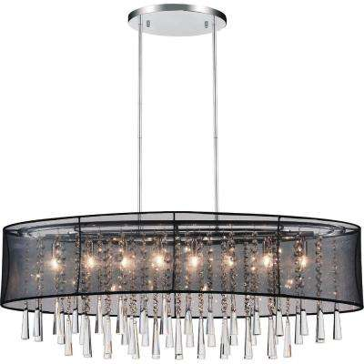 Renee 8-Light Chrome Chandelier with Black shade