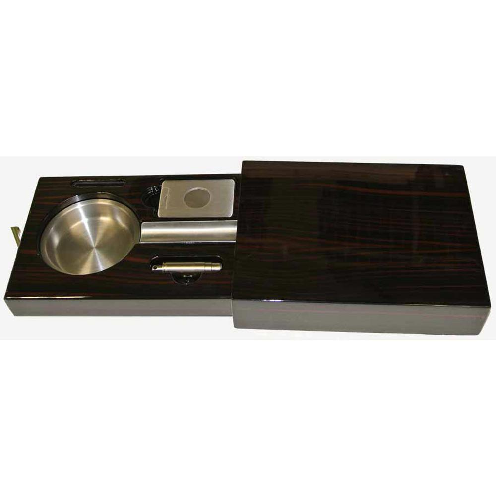 Drawer Single Cigar Iron Wood Finish Ashtray