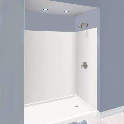 Expressions 42 in. x 60 in. x 72 in. 3-Piece Easy Up Adhesive Alcove Shower Wall Surround in White