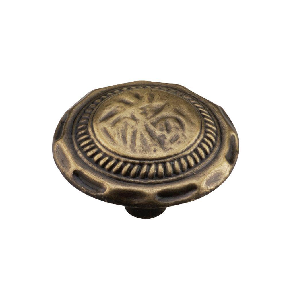 1-3/8 in. (35 mm) Antique Brass Cabinet Knob