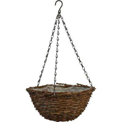 12 in. Round Vine Coconut Fiber Hanging Basket with Brown Chain