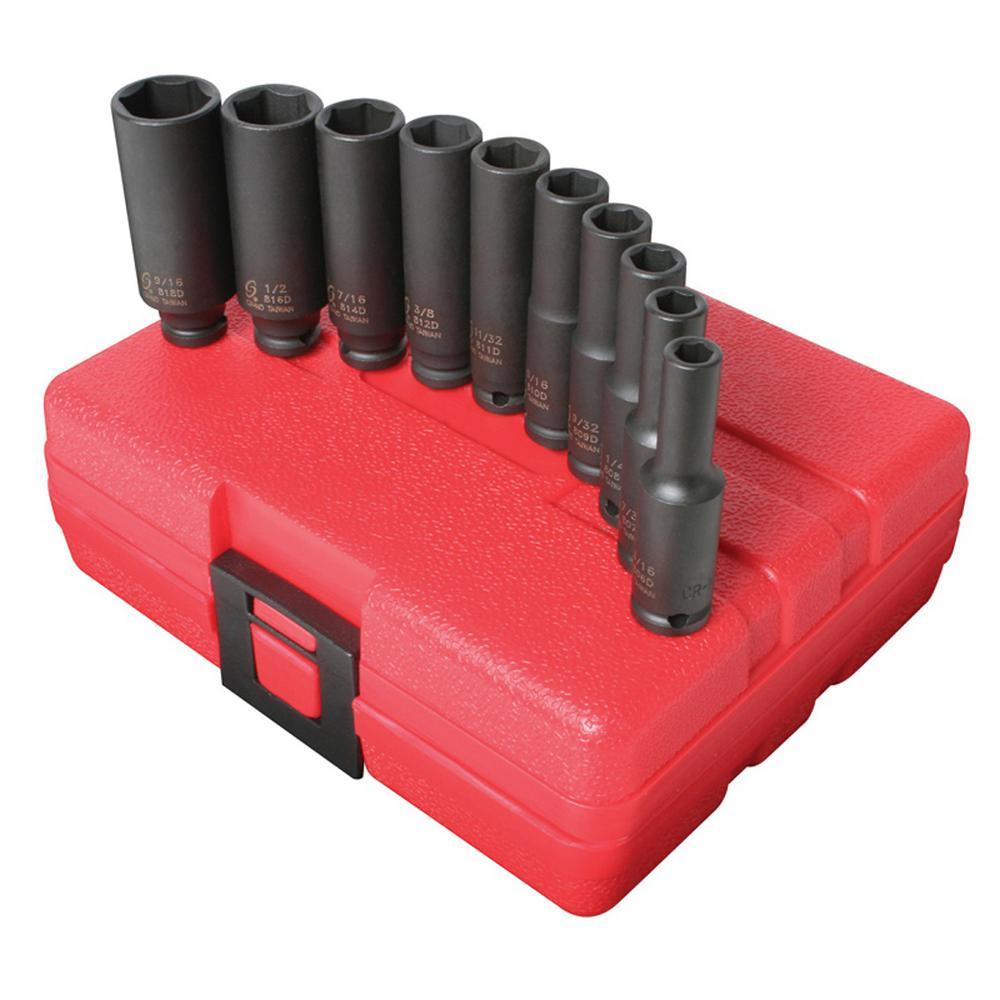 13-Piece GearWrench 84914N 3//8-Inch Drive Deep Metric Impact Socket Set
