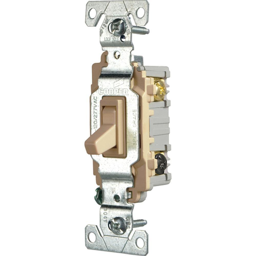 Eaton Commercial Grade 15 Amp 3Way Toggle Switch with Back and Side