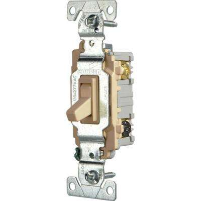 Commercial Grade 15 Amp 3-Way Toggle Switch with Back and Side Wiring, Ivory