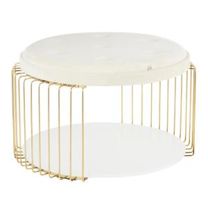 Canary White Velvet And Gold Metal Tray Top Coffee Table