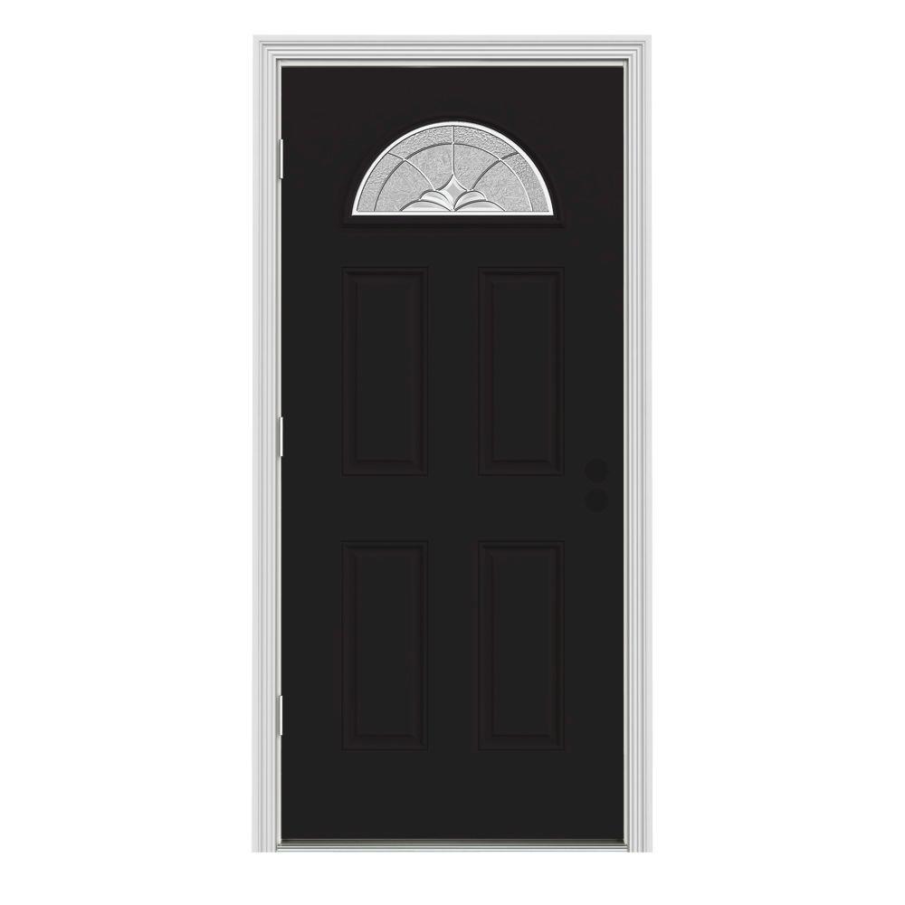 JELD-WEN 34 in. x 80 in. Fan Lite Langford Black Painted Steel Prehung Right-Hand Outswing Front Door w/Brickmould