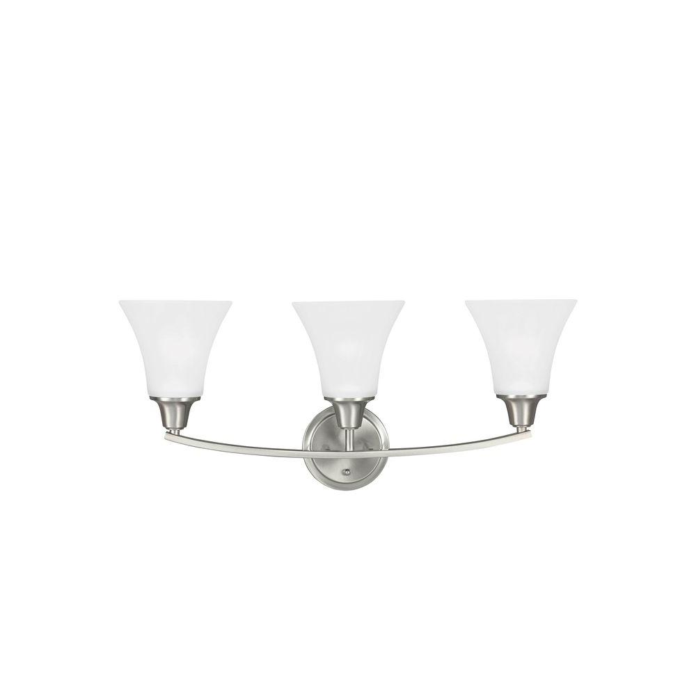 Sea Gull Lighting 44237 962 3 Light Brushed Nickel Bathroom Vanity Wall Fixture: Sea Gull Lighting Bayfield 2-Light Brushed Nickel Wall Sconce-4411602EN-962