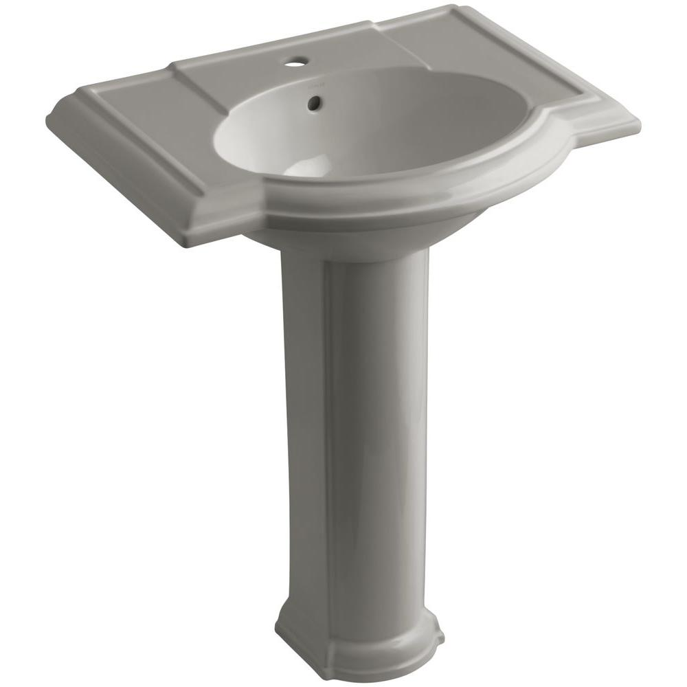 KOHLER Devonshire Vitreous China Pedestal Combo Bathroom Sink in Cashmere with Overflow Drain