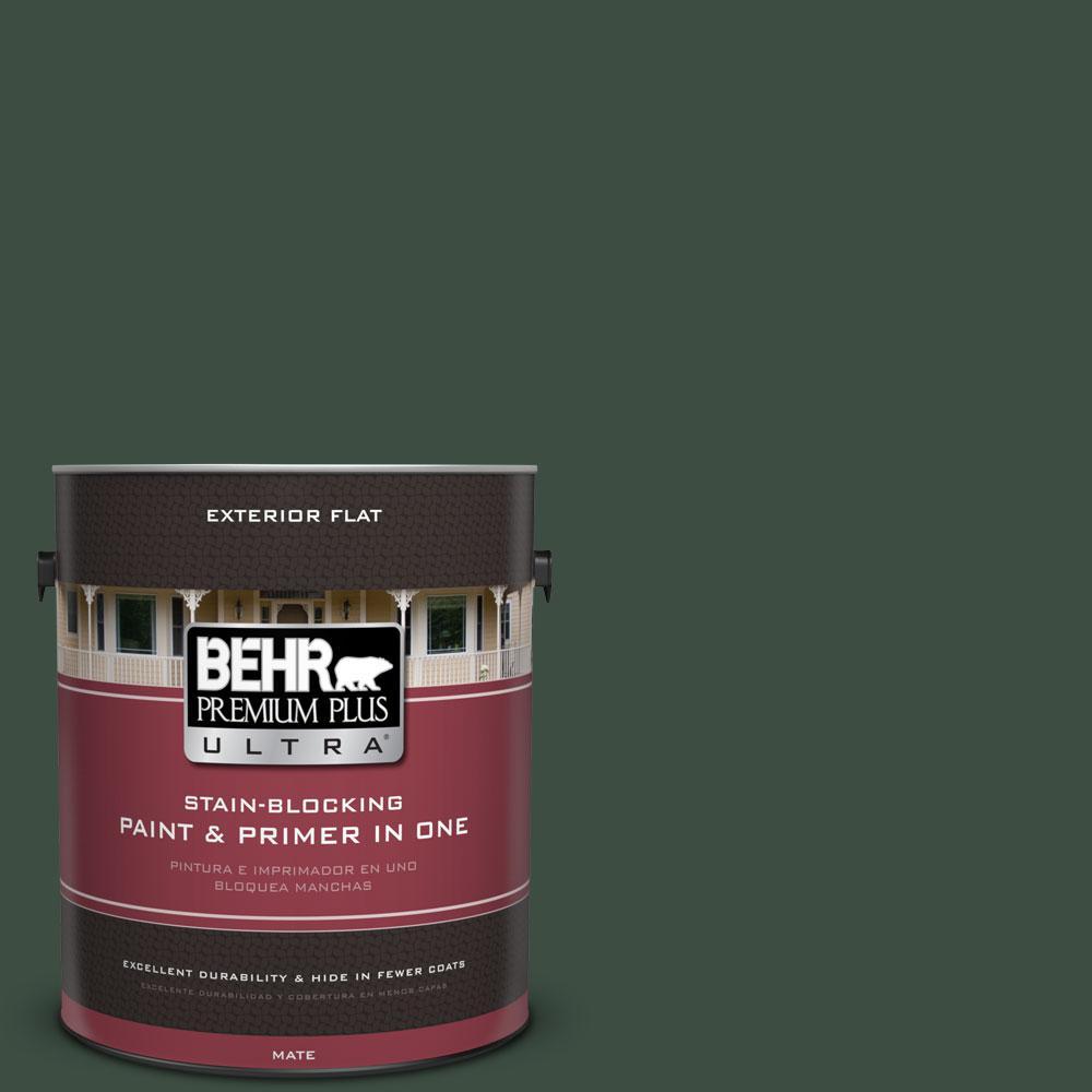 BEHR Premium Plus Ultra 1-gal. #ECC-45-3 Conifer Flat Exterior Paint