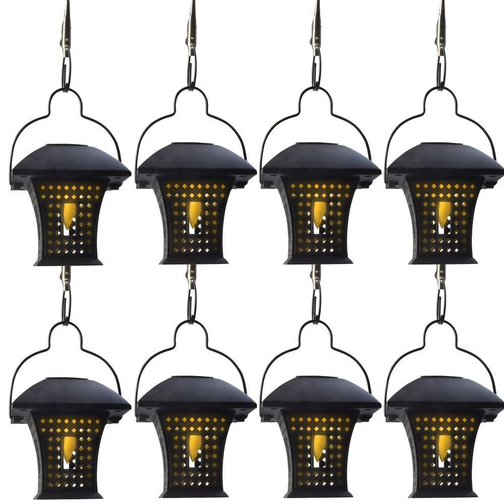 Moonrays Outdoor Black Solar Powered Hanging LED Umbrella Light