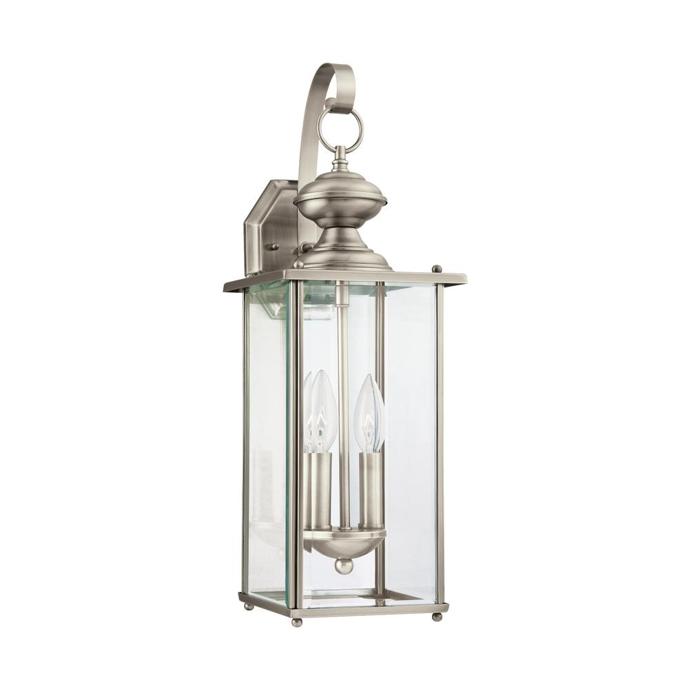 Sea Gull Lighting Jamestowne 2 Light Antique Brushed Nickel Outdoor 20 25 In Wall Lantern Sconce With Dimmable Candelabra Led Bulb