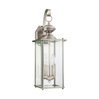 Jamestowne 2-Light Antique Brushed Nickel Outdoor 20.25 in. Wall Lantern Sconce with Dimmable Candelabra LED Bulb