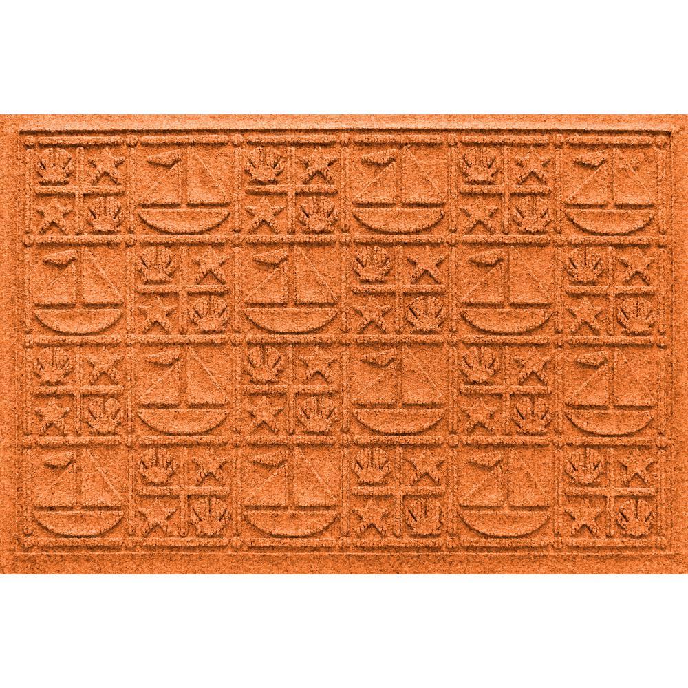Orange 24 in. x 36 in. Nautical Polypropylene Door Mat
