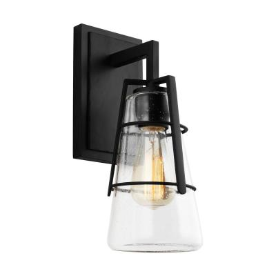 Adelaide 5.375 in. W. 1-Light Midnight Black Vanity Light with Clear Seeded Glass Shade