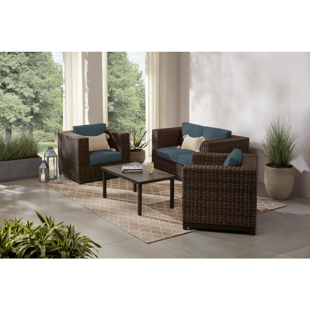 Fernlake 4-Piece Taupe Wicker Outdoor Patio Deep Seating Set with Sunbrella Denim Blue Cushions