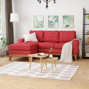 Outstanding Noble House Welles Mid Century Modern Tufted Red Fabric Caraccident5 Cool Chair Designs And Ideas Caraccident5Info