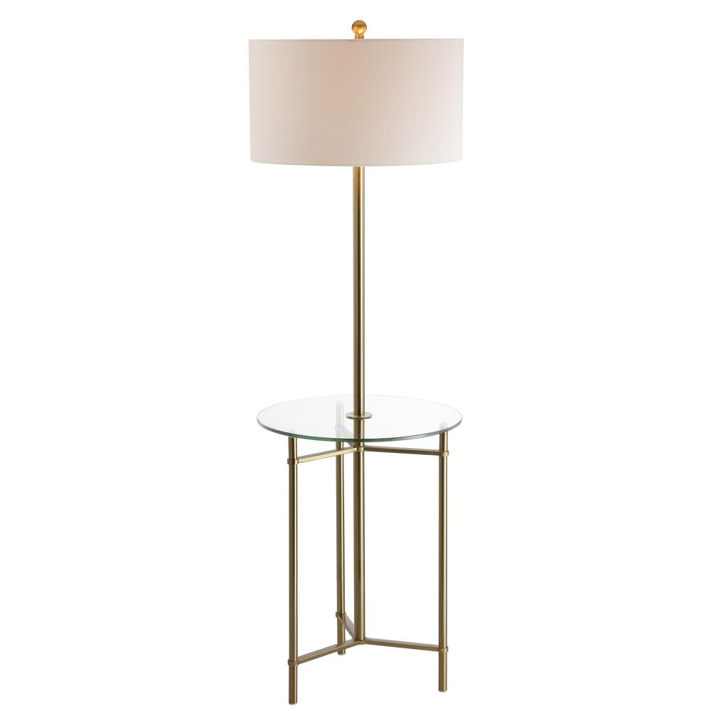 Charles 59 In Metal Glass Led Side Table And Floor Lamp Brass
