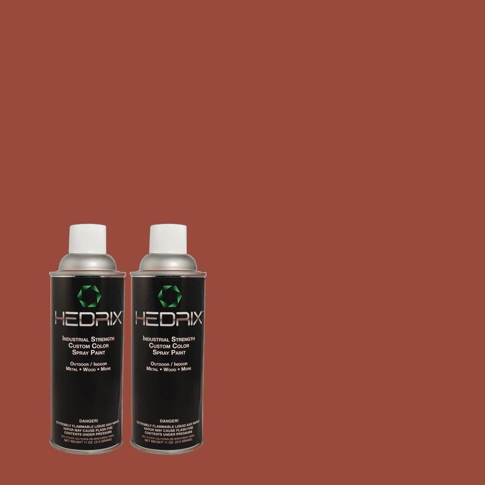 Hedrix 11 oz. Match of QE-07 Country Lane Red Semi-Gloss Custom Spray Paint (2-Pack)