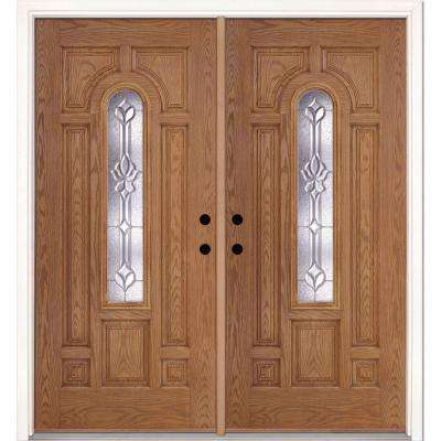74 in. x 81.625 in. Medina Zinc Center Arch Lite Stained Light Oak Right-Hand Fiberglass Double Prehung Front Door