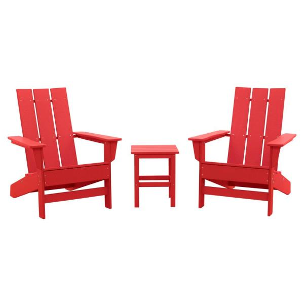 Aria Bright Red Recycled Plastic Modern Adirondack Chair with Side Table (2-Pack)