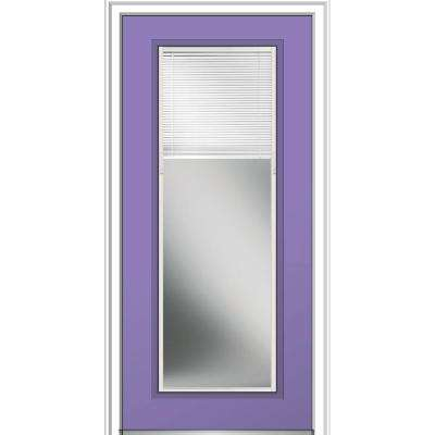 32 in. x 80 in. Internal Blinds Clear Glass Full Lite Left-Hand Classic Painted Fiberglass Smooth Prehung Front Door
