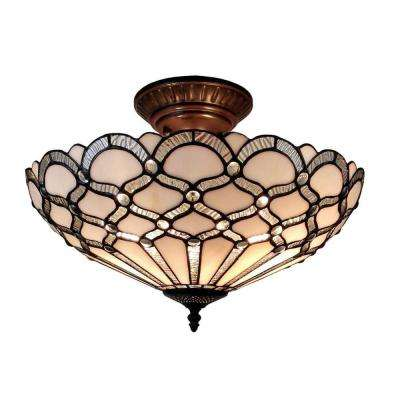 Tiffany Style 2-Light White Pendant Lamp 17 in. Wide