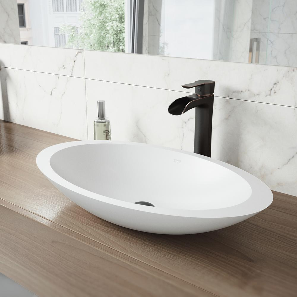charming Vigo Sinks And Faucets Part - 15: VIGO Wisteria Matte Stone Vessel Sink in White with Niko Vessel Faucet in  Antique Rubbed Bronze