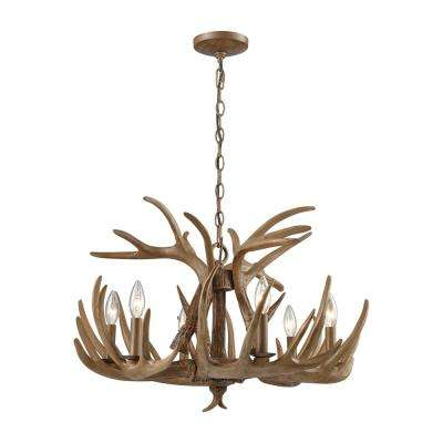 Brown antler chandeliers lighting the home depot elk 6 light wood brown chandelier aloadofball Gallery
