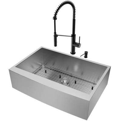 Farmhouse Apron Front Matte Stone 33 in. Single Bowl Kitchen Sink and Faucet Set in Stainless Steel/Matte Black