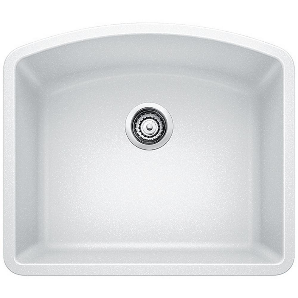 diamond undermount granite composite 24 in single bowl kitchen sink in white