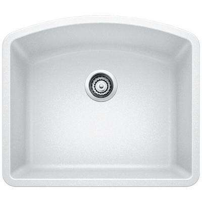 Diamond Undermount Granite Composite 24 in. 1-Hole Single Bowl Kitchen Sink in White