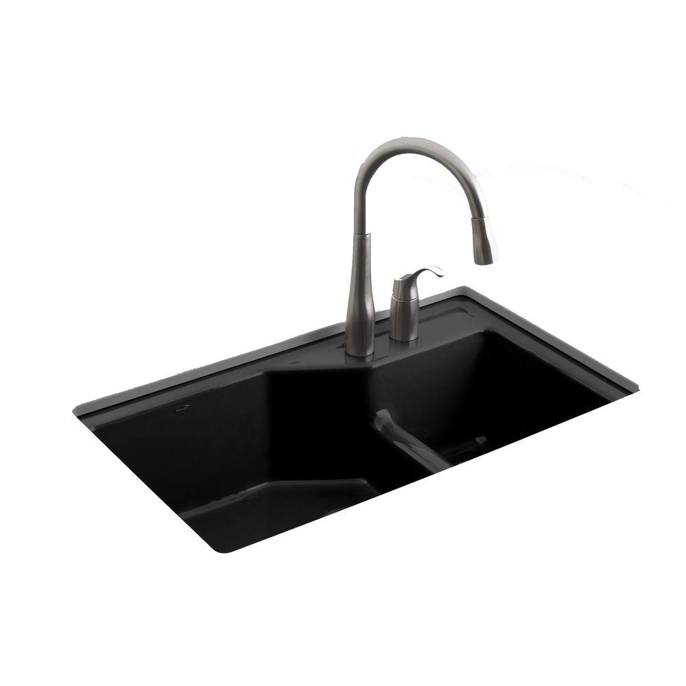 black faucets kitchen kohler indio smart divide undermount cast iron 33 in 2 10738