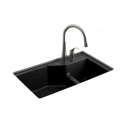 Indio Smart Divide Undermount Cast Iron 33 in. 2-Hole Double Bowl Kitchen Sink Kit in Black Black