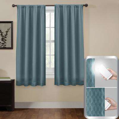Blackout Jamie Smart 50 in. x 63 in. Window Curtain Panel in Teal