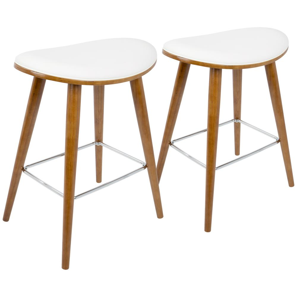 Lumisource saddle 26 in walnut and white faux leather counter stool set of 2