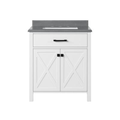 Ainsley 30 in. W x 22 in. D Vanity in White with Cultured Stone Vanity Top in Grey with White Basin