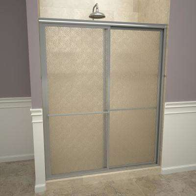 1100 Series 47 in. W x 71-1/2 in. H Framed Sliding Shower Doors in Brushed Nickel with Towel Bars and Obscure Glass