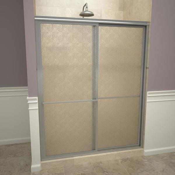 1100 Series 59 in. W x 71-1/2 in. H Framed Sliding Shower Doors in Brushed Nickel with Towel Bars and Obscure Glass