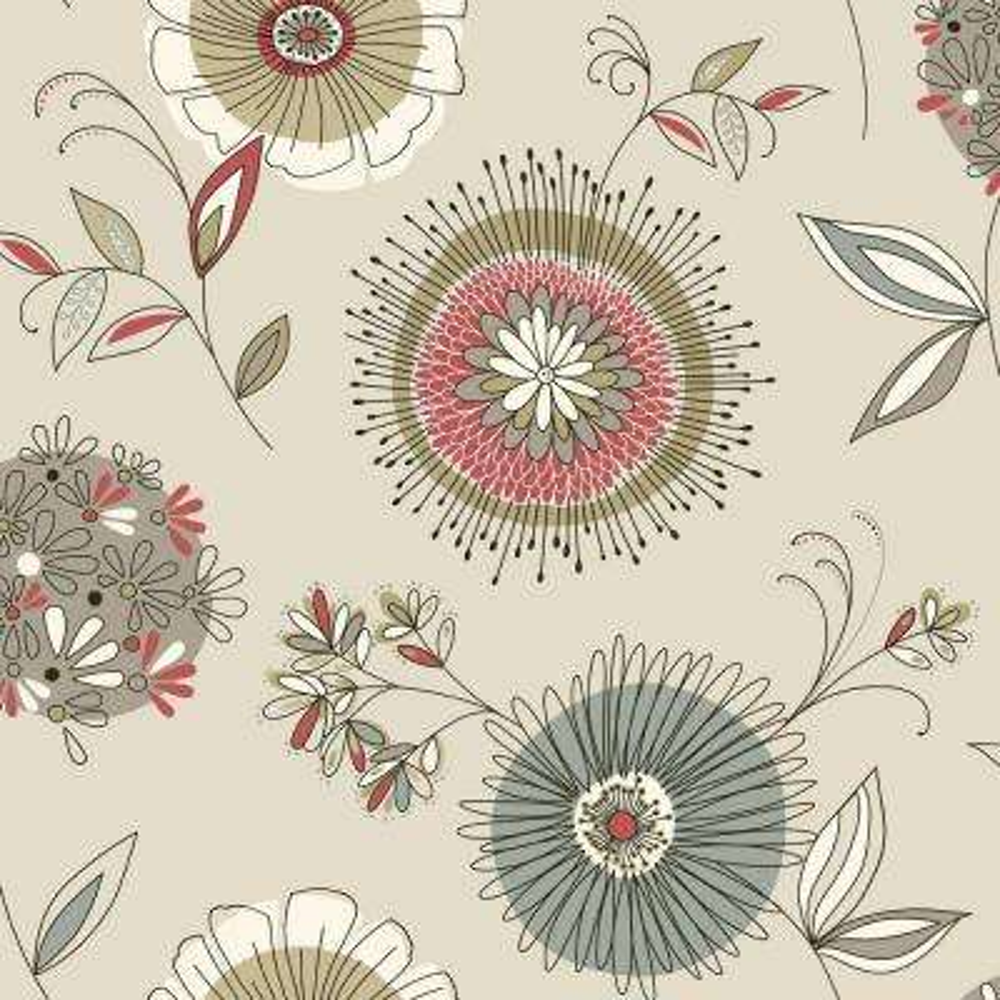 Maisie Grey Floral Burst Wallpaper Sample