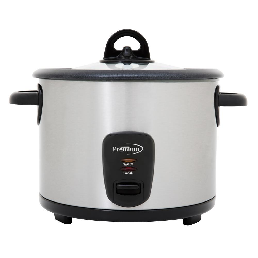 16-Cup Deluxe Rice Cooker, Stainless Look PREMIUM 16-Cup Deluxe Rice Cooker cooks rice to perfection every time. With a 16-Cups cooked rice capacity it makes plenty of rice for your whole family plus guests, and using the keep warm function allows rice to be prepared in advance. The removable non-stick cooking pot makes clean up simple, and the included rice paddle and measuring cup mean you have all the supplies needed to make and serve delicious rice every day. Color: Stainless Look.