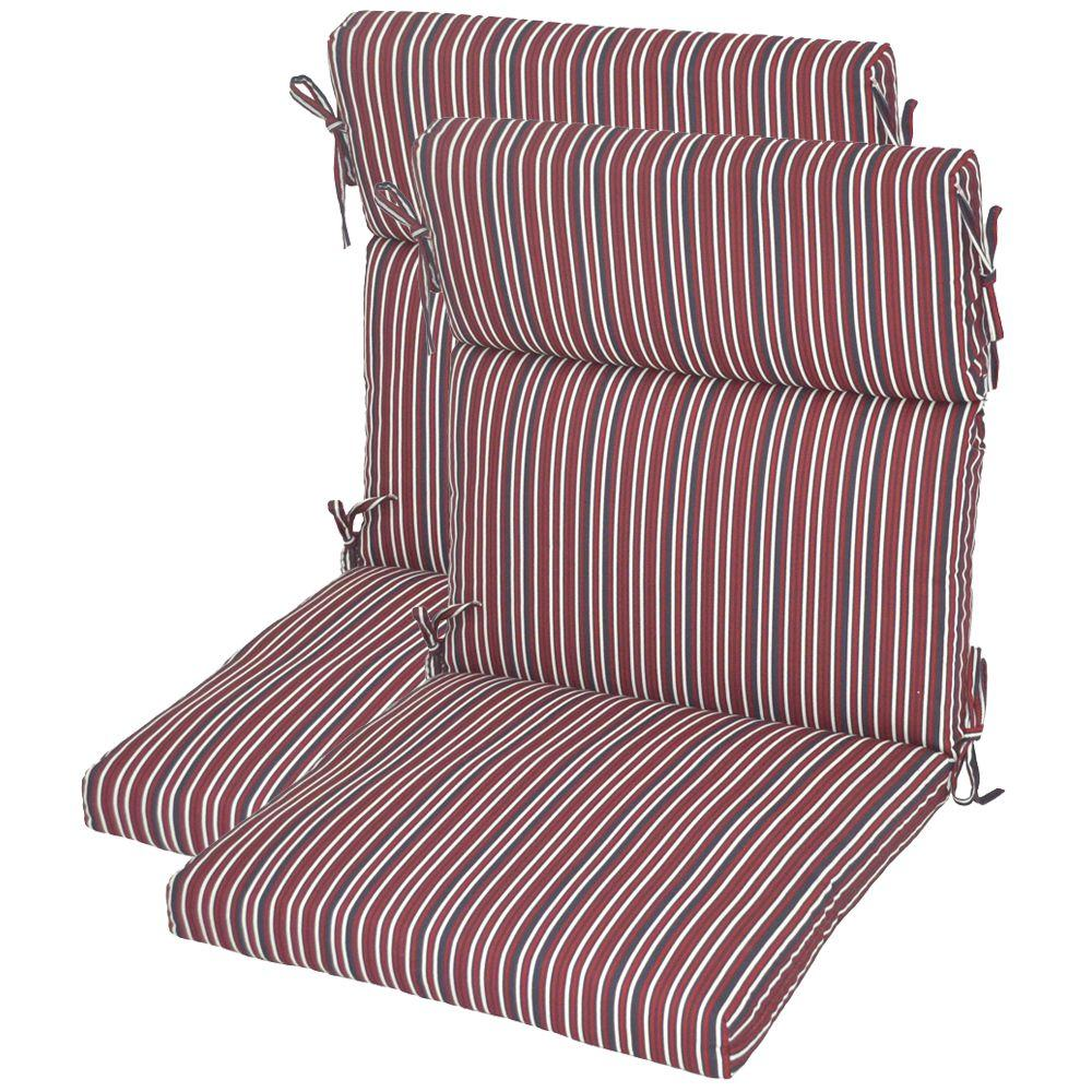 Hampton Bay Oliver Stripe High Back Outdoor Chair Cushion (2-Pack)